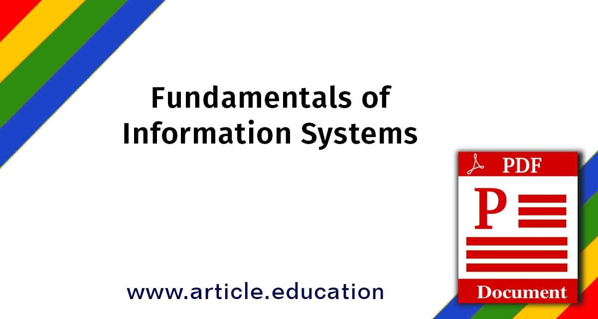 Fundamentals Of Information Systems Fundamentals Of Information