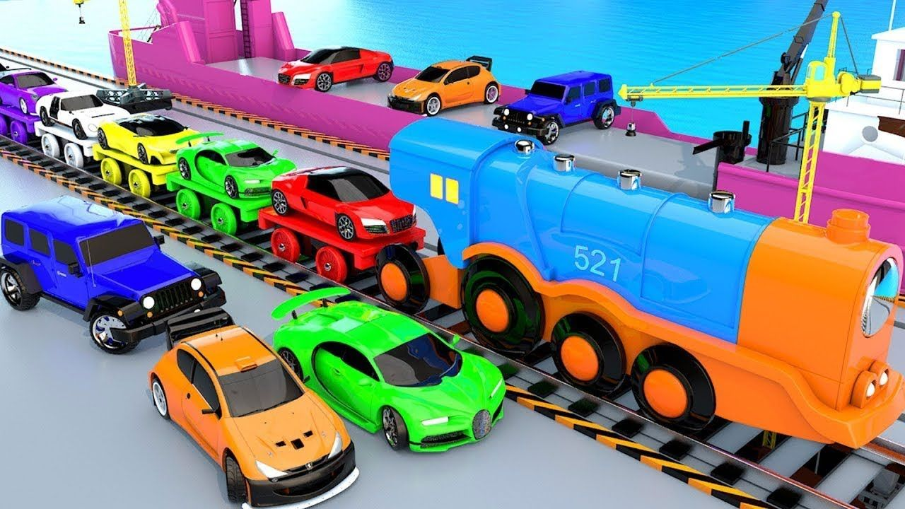 Cars Carrier Big Ship Loading With Jcb Crane And Train Transport Video 3d Cars Vehicles Videos Super Sport Cars Toy Car Coloring For Kids