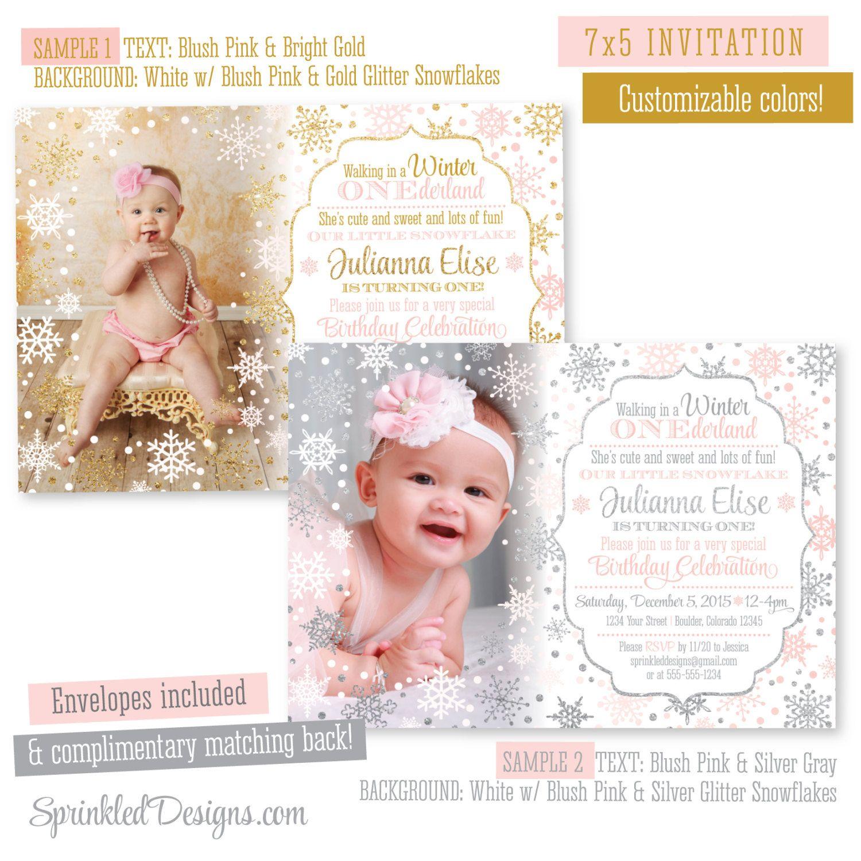 Winter ONEderland Birthday Invitation Girl Photo Card - Blush Pink ...