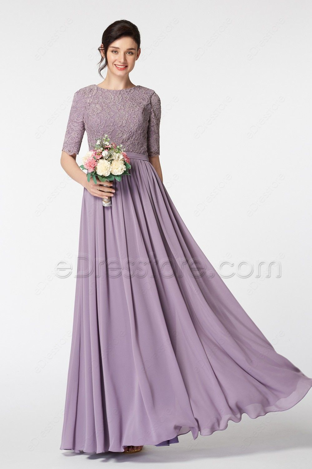 15a9494c320e The Wisteria bridesmaid dress features O neckline and lace bodice, elbow  length sleeves, fully lined and high back finish the modest look, ...