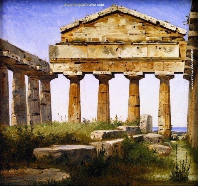 Constantin Hansen The Temple of Athena at Paestum, painting - leinwandbilder für küche