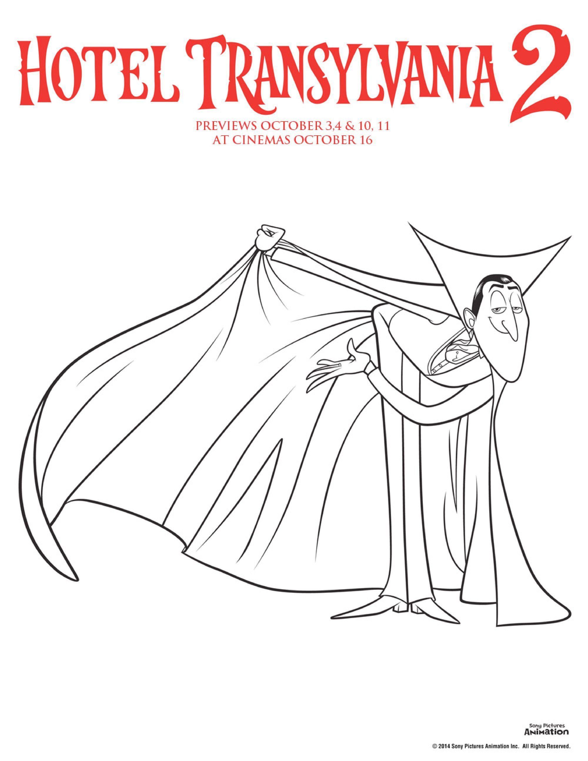 Hotel Transylvania 2 Colouring Pages Count Dracula Vampire Colouring Sheet Perfect For Hall Hotel Transylvania Hotel Transylvania 2 Dracula Hotel Transylvania