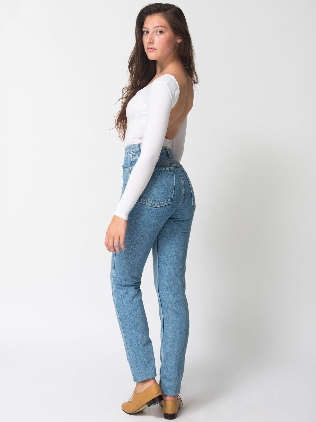 f88a5e28c41 American Apparel - Medium Wash High-Waist Jean...LOVE the high waist..so  tired of pants that go down almost to your whoohah!