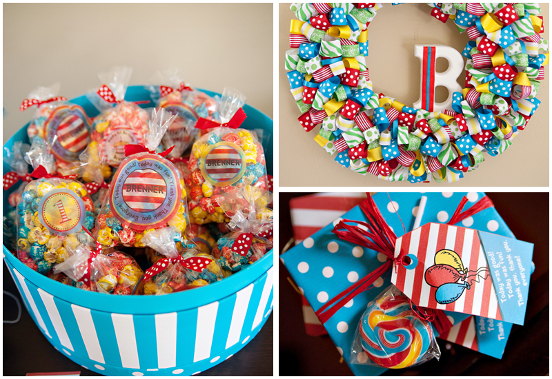 dr seuss party favors Above the favors is a DIY multicolored