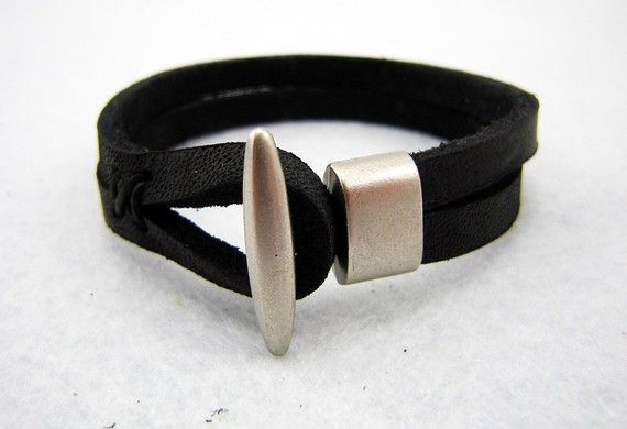 Blank Slim leather Cuff bracelet black color long by MicDesign0, $32.00