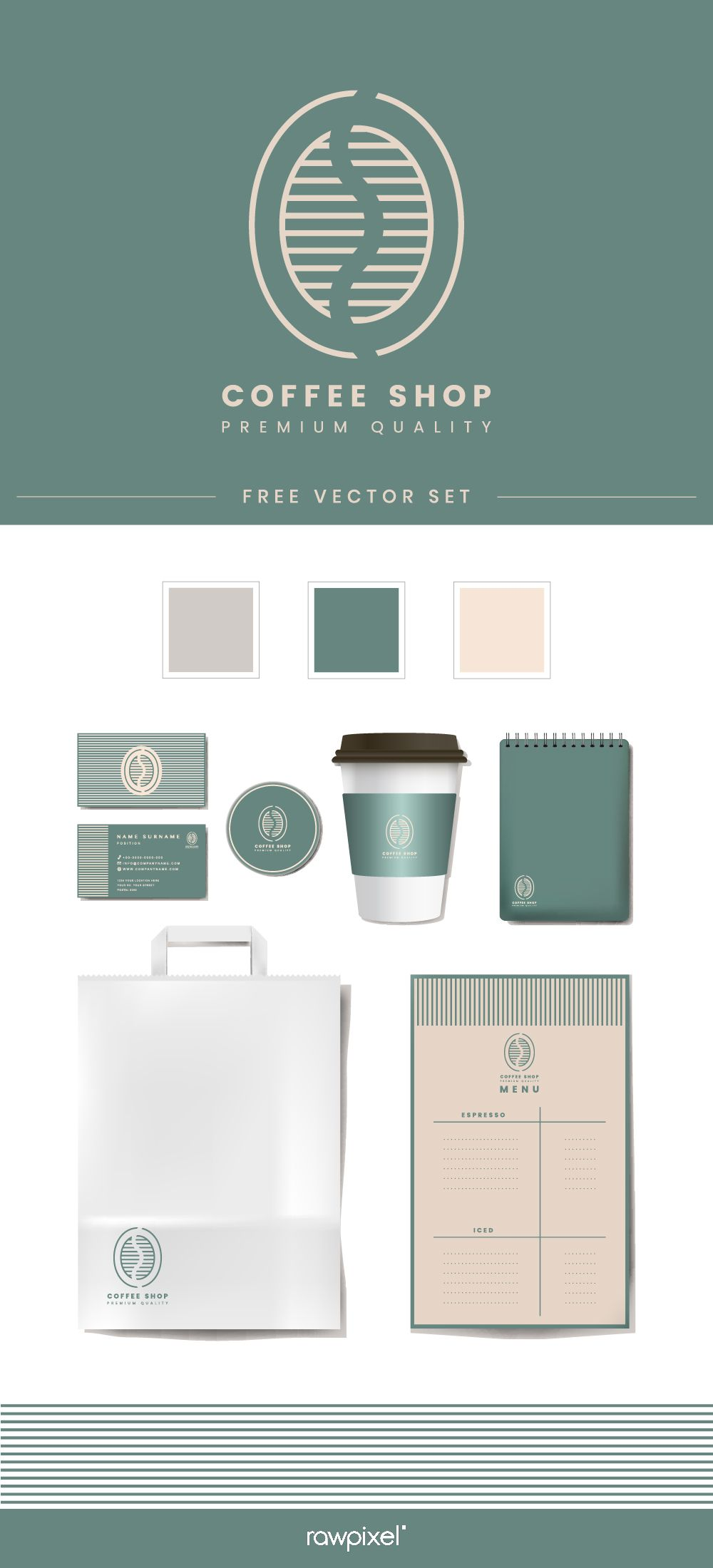 Download These Free Coffee Shop Corporate Identity Mockup Vectors