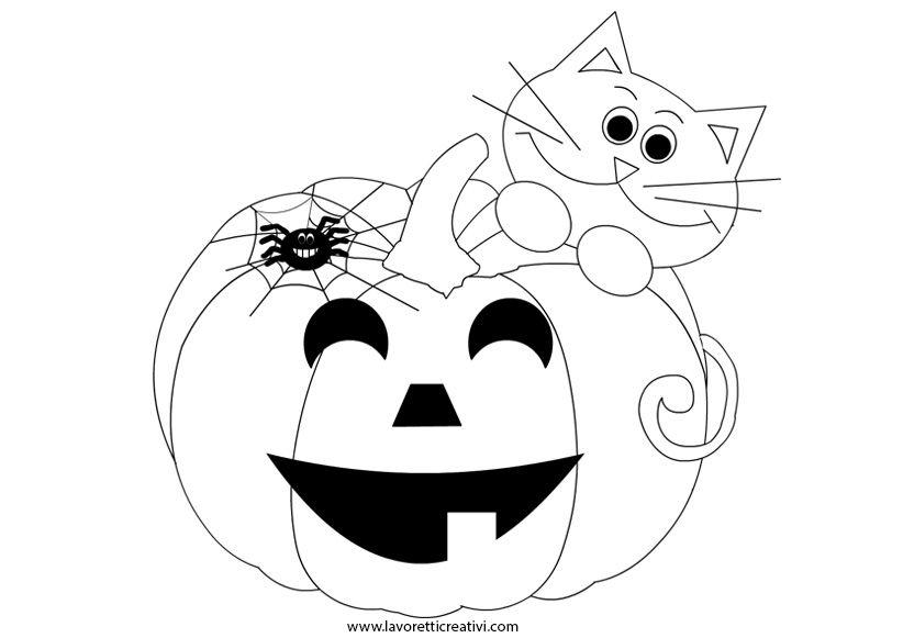 Zucca Di Halloween Zucca Di Halloween Con Gatto Nero E Ragno Da