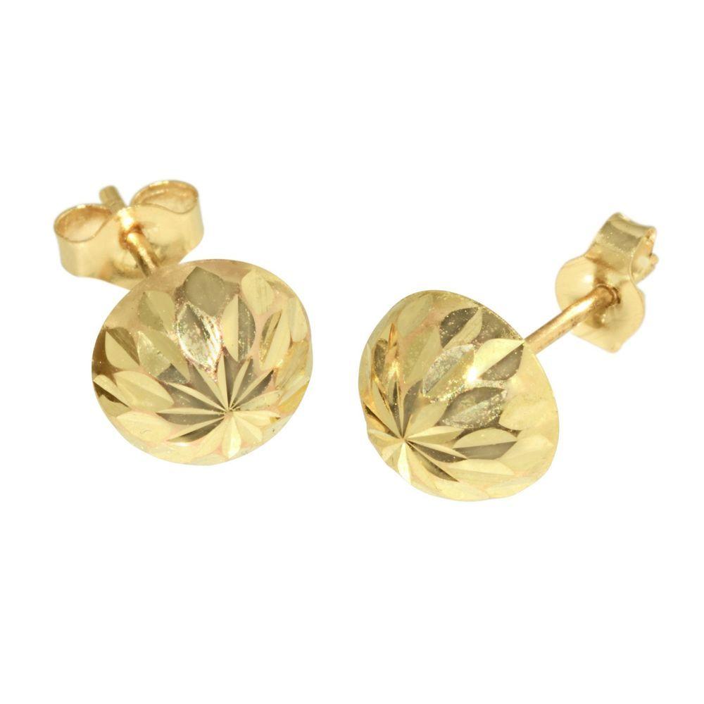 4mm Diamond-cut Half-Ball Post Earrings in 14k Yellow Gold