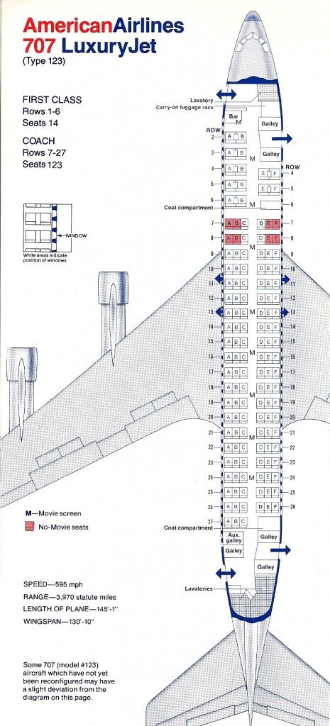 Vintage Airline Seat Map: American Airlines Boeing 707-123 ...