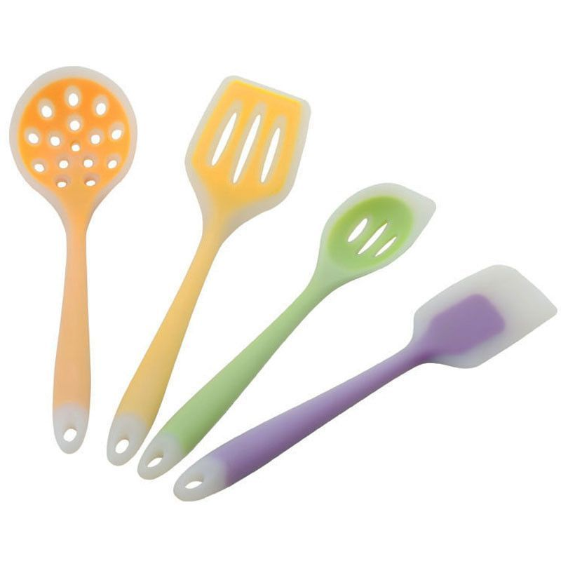4 pcs silicone kitchen utensils set includes Slotted Spoon,Turner ...