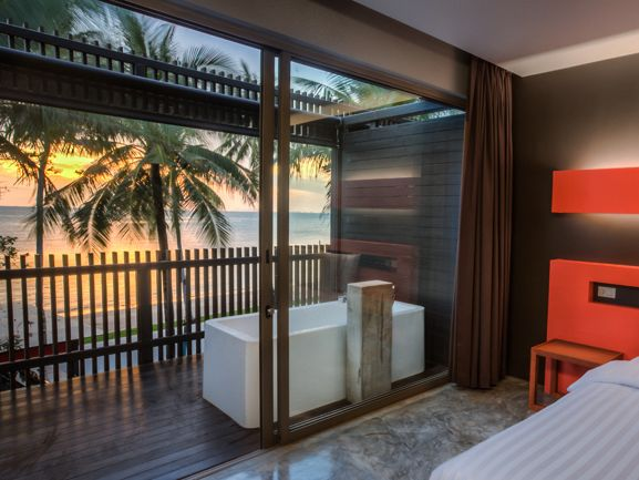 Deluxe Sea View Room - Double Bed with Ensuite Bathroom, Complete with Hot-tub on Balcony at The Coast Resort 4* in Haadrin on the south west coast on Koh Phangan - sunset view included