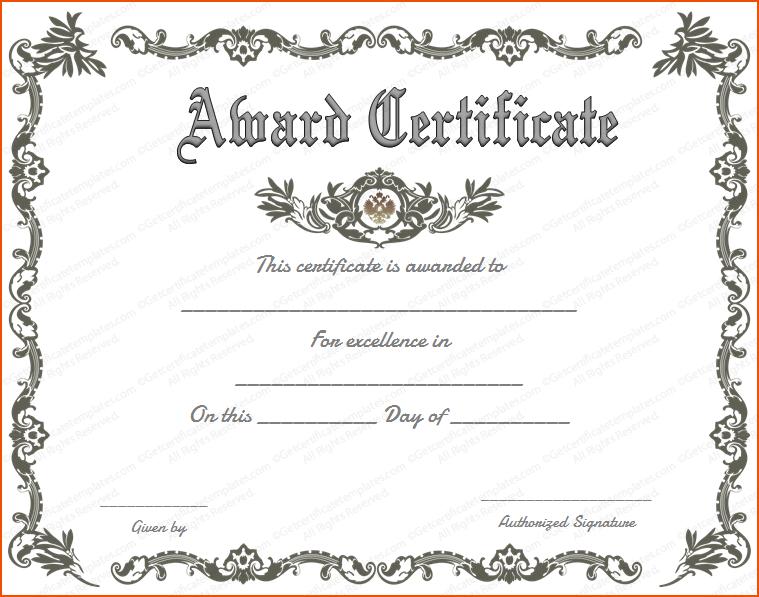Blank Award Certificate Templates Word (3) TEMPLATES