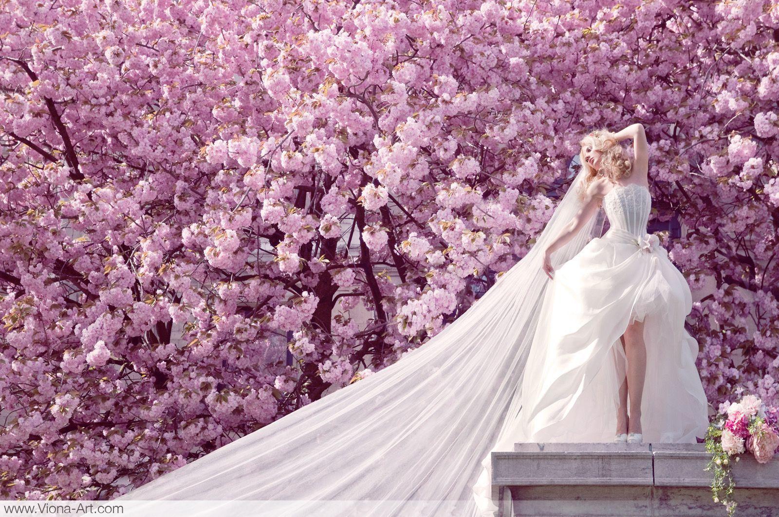 Hermosa Cerezo En Flor Vestido De Novia Inspiración - Vestido de ...