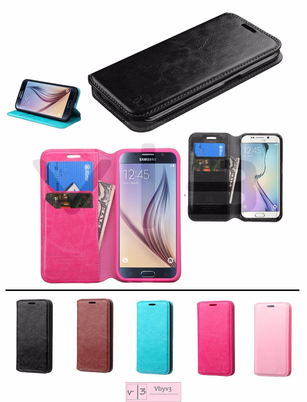 6fea8d1daea For Samsung Galaxy S6 / Edge / Plus + Leather Flip Wallet Case Phone Cover  Stand