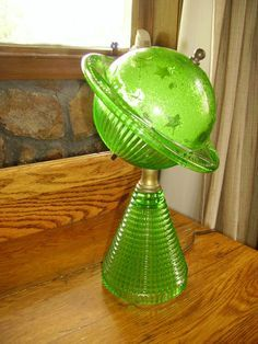 1939 World S Fair Green Glass Saturn Lamp Vintage Lamps Glass Art Glass Lamp