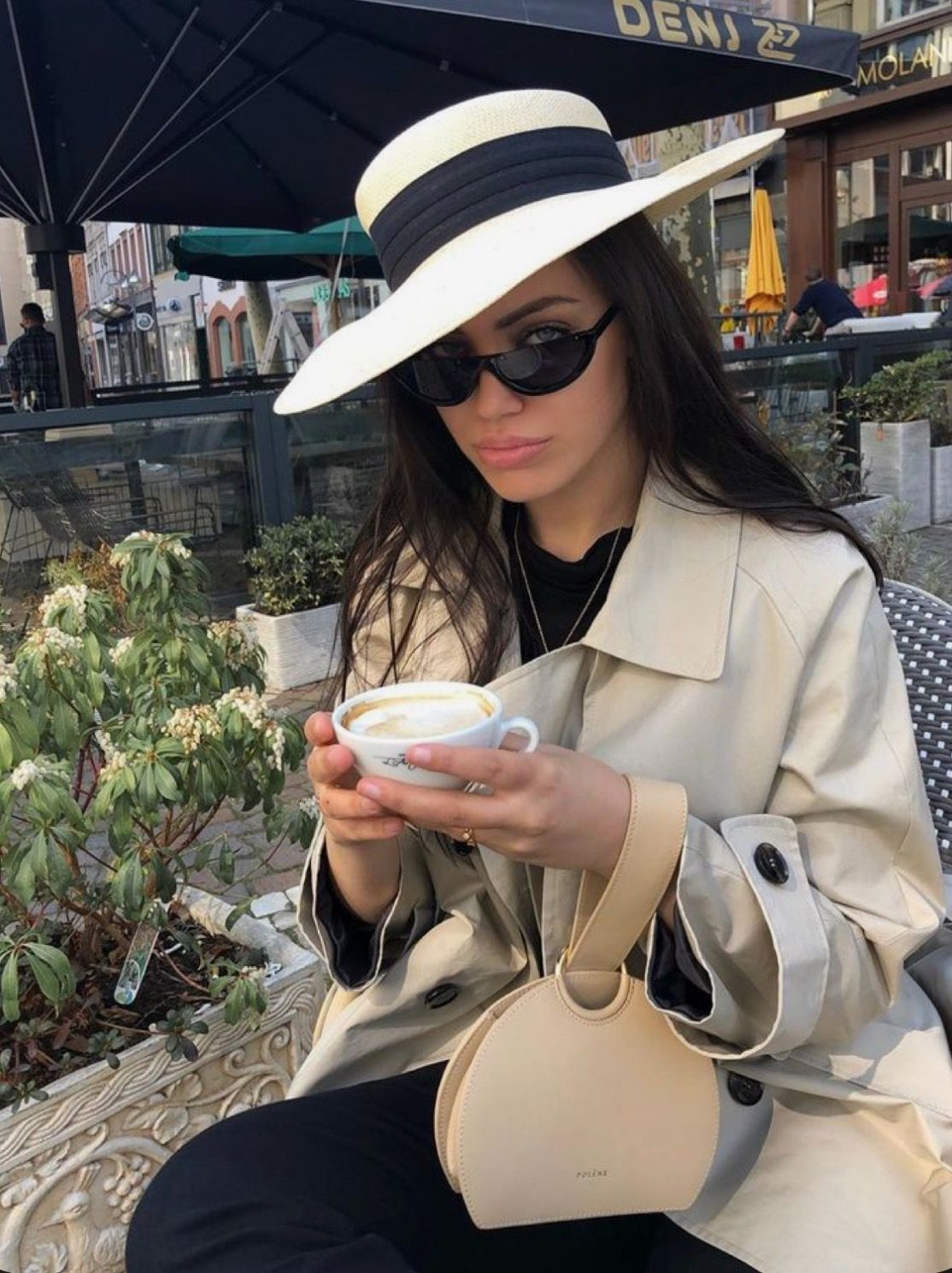 Beige Coat + Jeans Street Style Outfit in 2020 Jeans