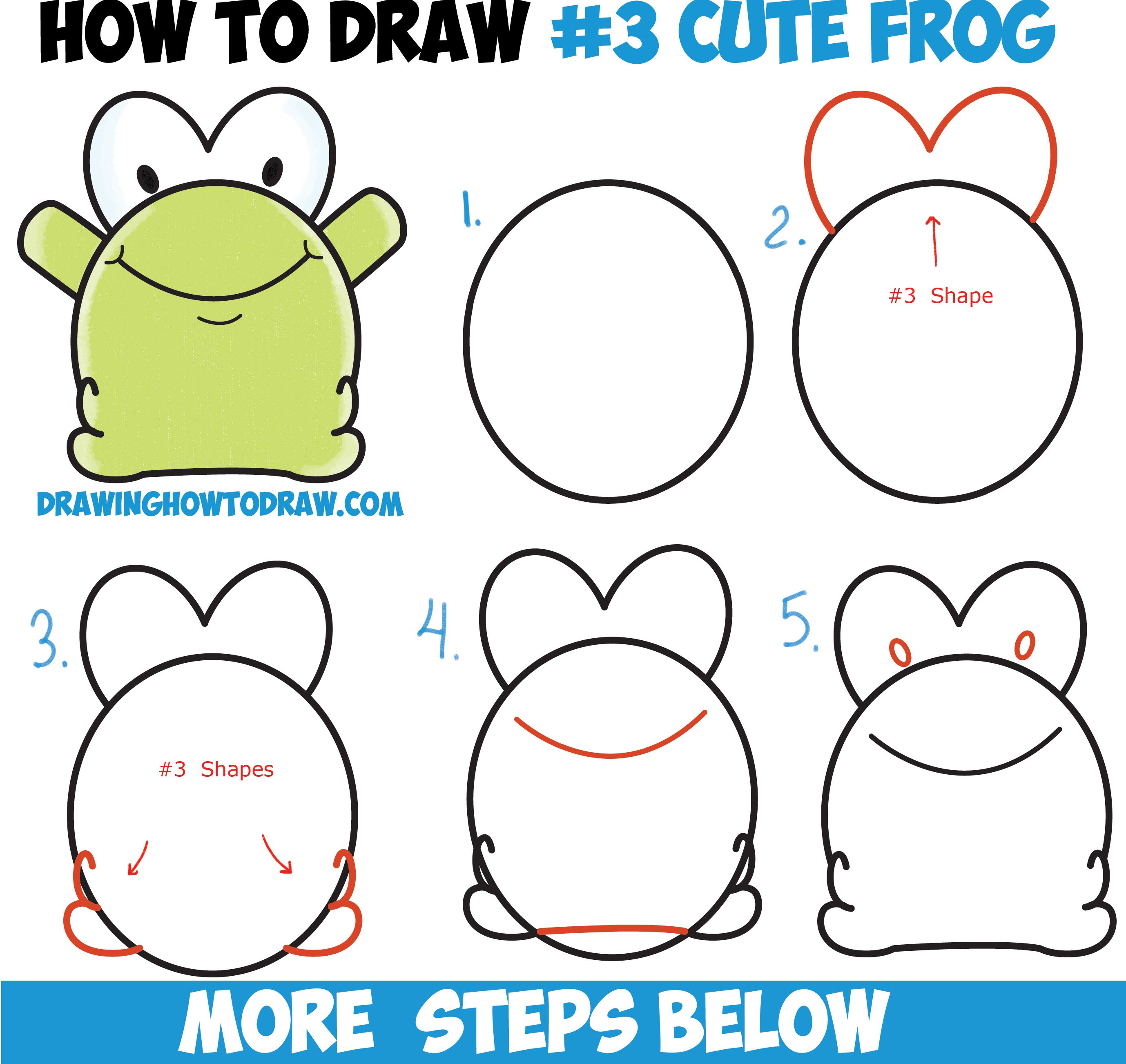 how to draw cute cartoon baby frog from number 3 shape easy step by step drawing