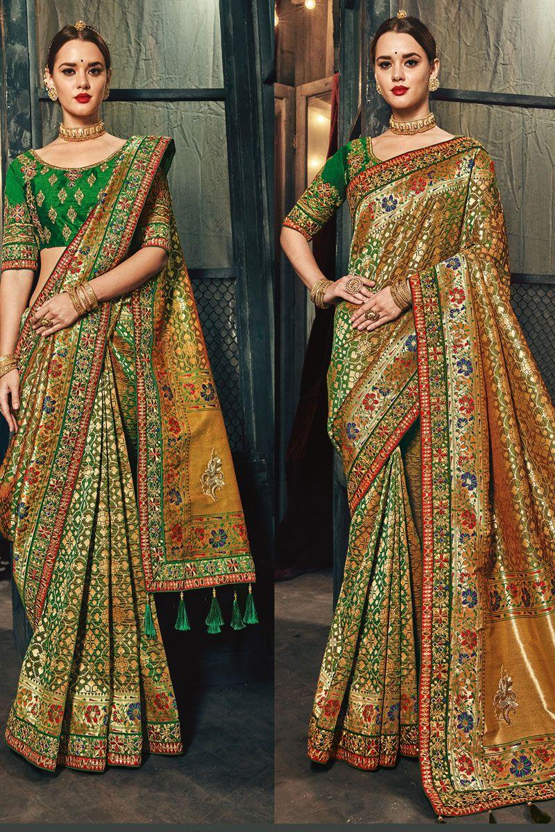 d45fc403589e8 Gold   Green Color Banarasi Silk Fabric Heavy Floral Embroidery Work Indian  Wedding Wear Traditional Designer Saree  MNsilkheritage  greensarees ...