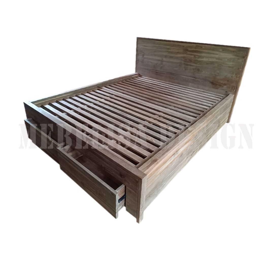 Zelvina Bedframe Queen Size Recycled Teak 3 Drawer Recycle Teak