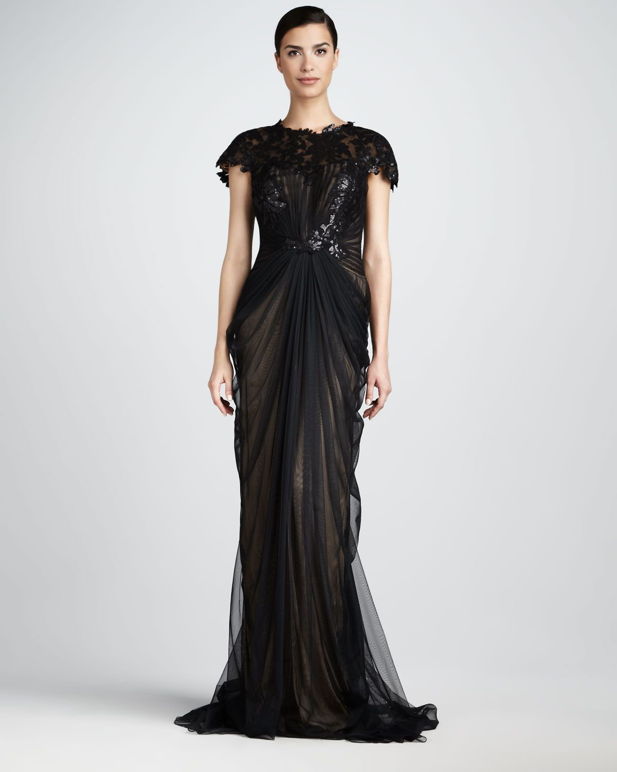 Best dresses to wear to a wedding reception  Tadashi Shoji Ruched LaceTop Gown  Neiman Marcus  The Black Tie