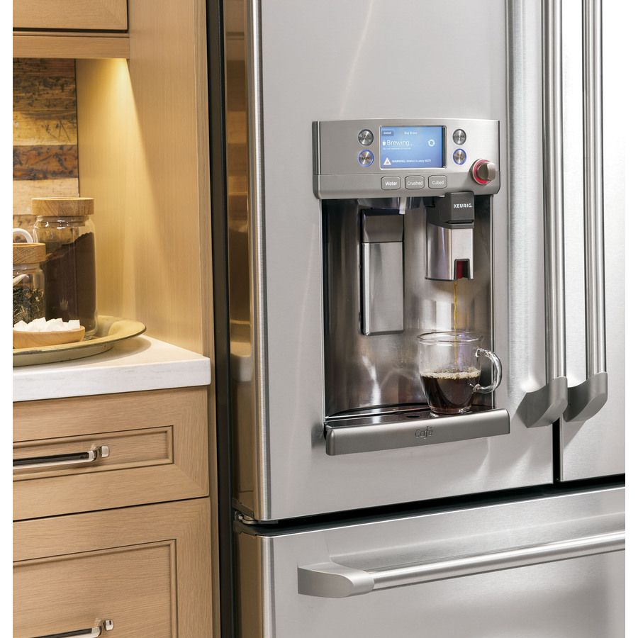 Coffee Is Always On In A Kitchen With The GE Cafe French Door Fridge.