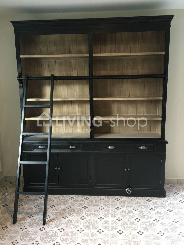Wonderbaar Zwarte boekenkast / bibliotheekkast met ladder | Zwarte boekenkast RG-88