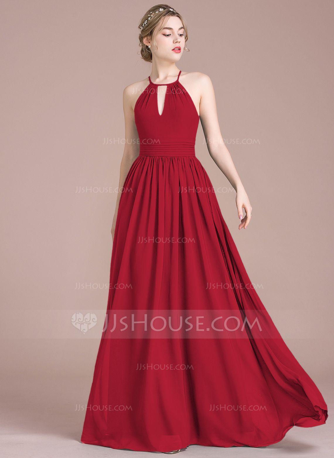 9b5479b7c A-Line/Princess Scoop Neck Floor-Length Chiffon Bridesmaid Dress With  Ruffle (007105577) - Bridesmaid Dresses - JJsHouse