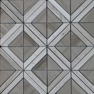 Carrara White Marble Triangle With Gray Strip Mosaic Tile Wooden Grey Contemporary Wall And Floor Gl Stone Ltd