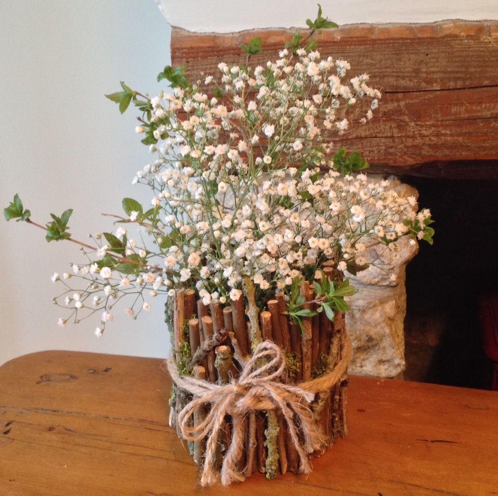 Wedding post box decorations  Rustic twig case  MAISON OR NOT MAISON  Pinterest  Post box