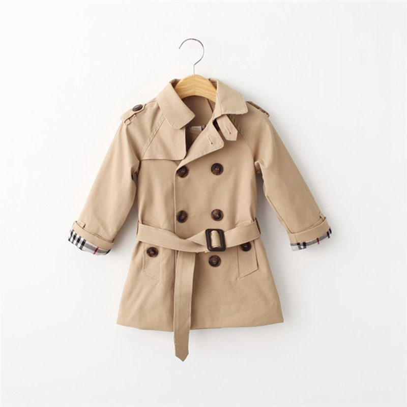 5ba1352888c4 2016 Girls Coat Summer Autumn Winter Classic Trench Coat Tunic ...