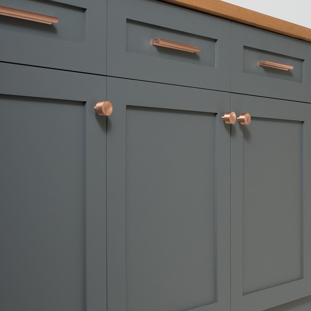 Grey Kitchen Copper Handles: Satin Copper Handles And Grey Cabinets On Schoolhouse