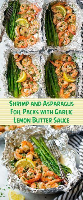 Photo of Shrimp and Asparagus Foil Packs with Garlic Lemon Butter Sauce