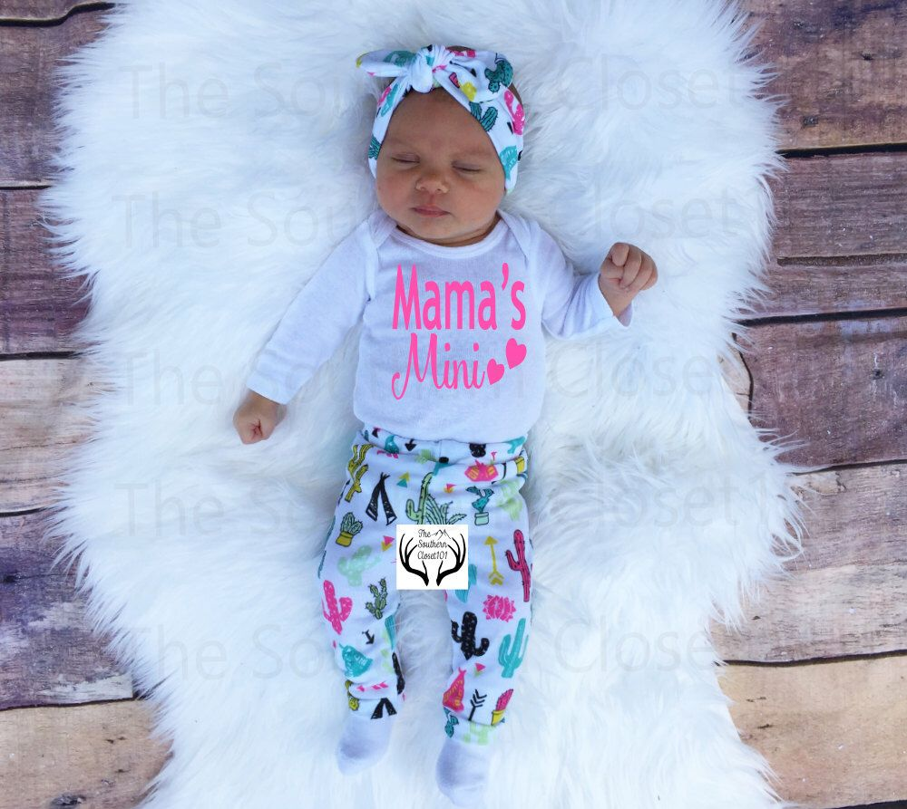 a6c2eccbd87c Baby Girl Coming home Outfit,Mama's Mimi,Teepees,Cactus,Summer,Newborn