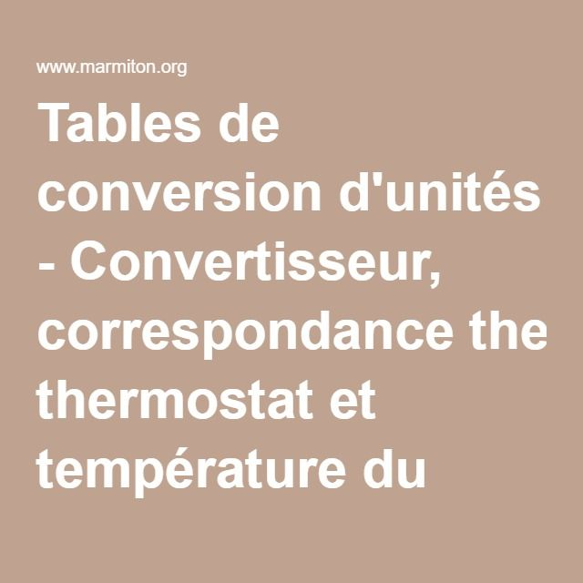 tables de conversion d 39 unit s convertisseur correspondance thermostat et temp rature du four. Black Bedroom Furniture Sets. Home Design Ideas