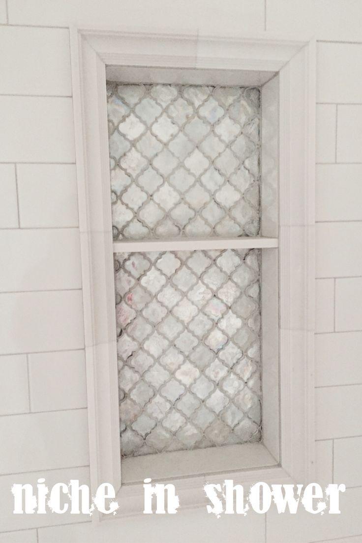 Arabesque Tile, Light Grey Grout, Oversized White Subway Tile Niche In  Shower