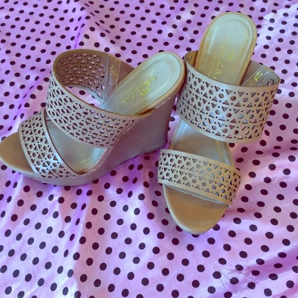 SBICCA wedged heel Tan wedges,  only worn one time. They are in Great condition. Sbicca Shoes Wedges