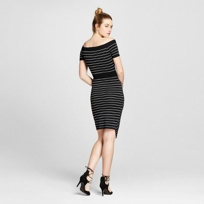 Women's Off Shoulder Striped Split Skirt Dress S - Xoxo (Juniors'), Multicolored