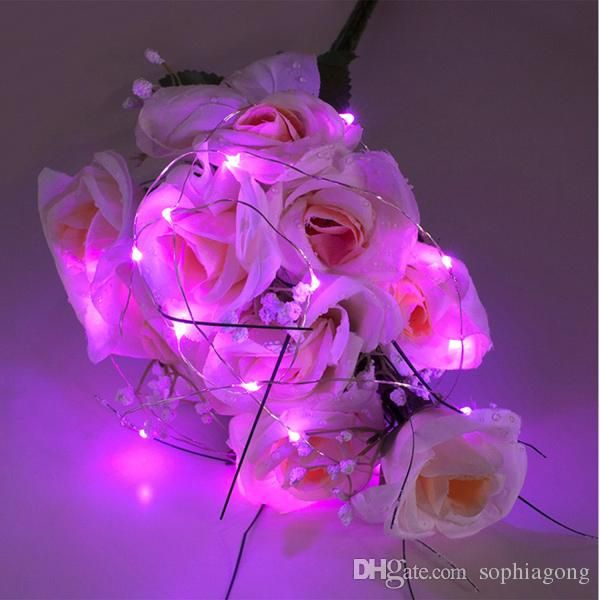 2M 20leds pink submersible led tiny micro wire string lights coin ...