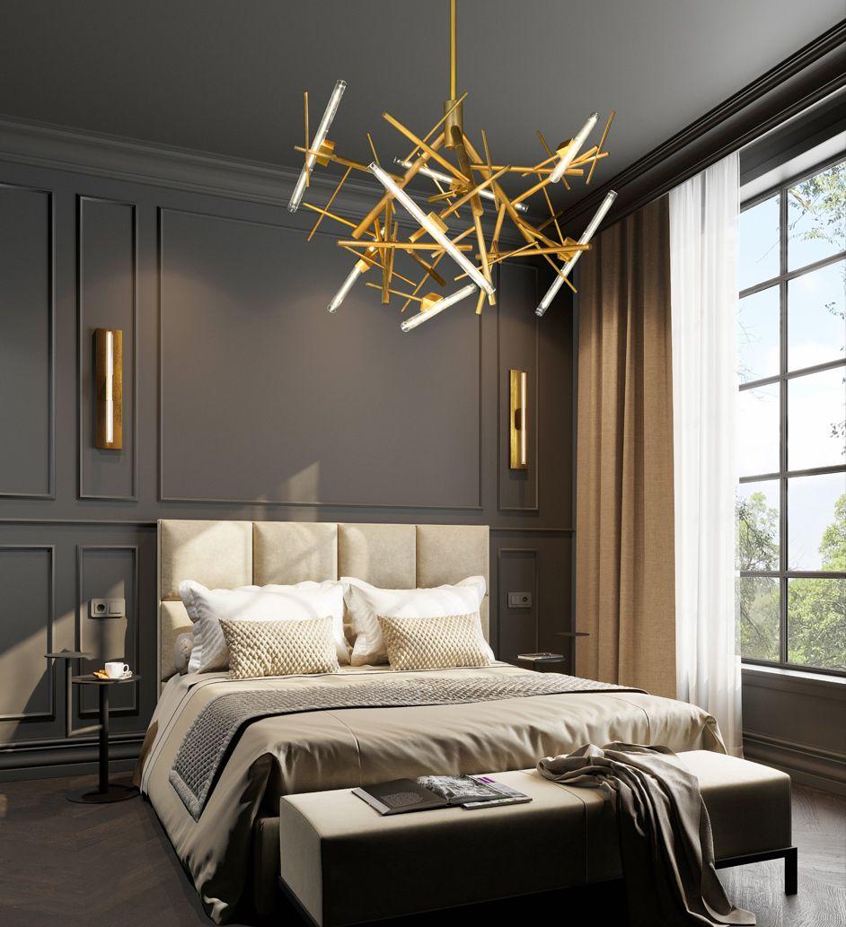 Contemporary Lighting Brand Van Egmond Modern Luxury Bedroom Modern Classic Bedroom Luxury Interior Gold plated luxury bedroom