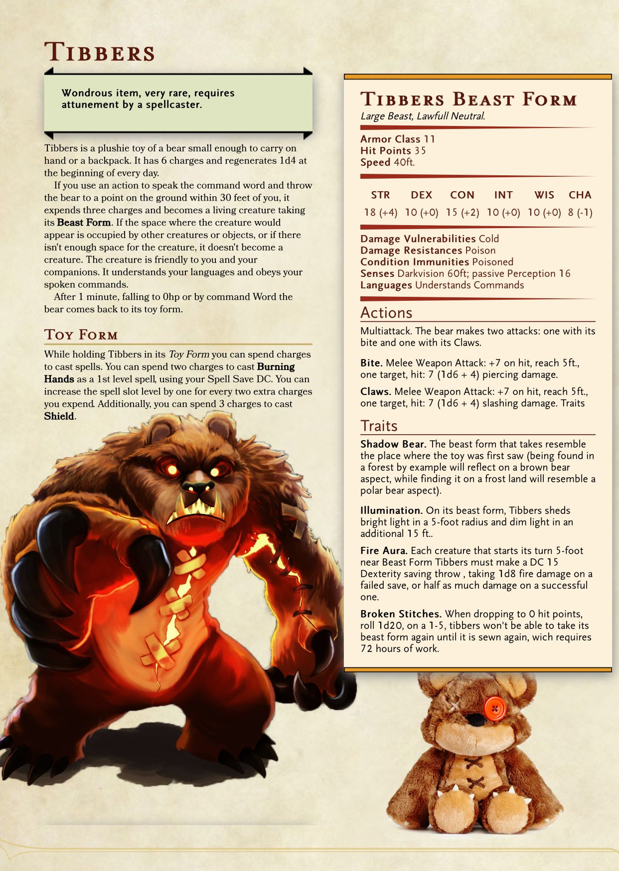 Teddy Bear Dd Character Sheet Rpg In 2019 Dnd Monsters Dnd 5e