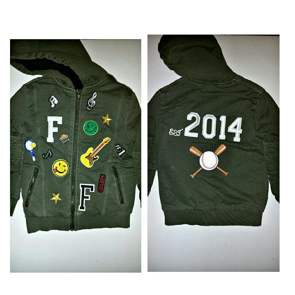 Unisex Custom designed coats, personalized with first letter of name and birth year .