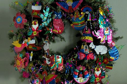 mexican tin art - My Wreath (with My Collection Of Mexican Tin Ornaments.jpg Folk