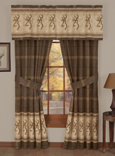 Buckmark Valance Curtains Perfect For The Deer Hunters Home Or Hunting Cabin Browning Buckmark Home Drapes Curtains