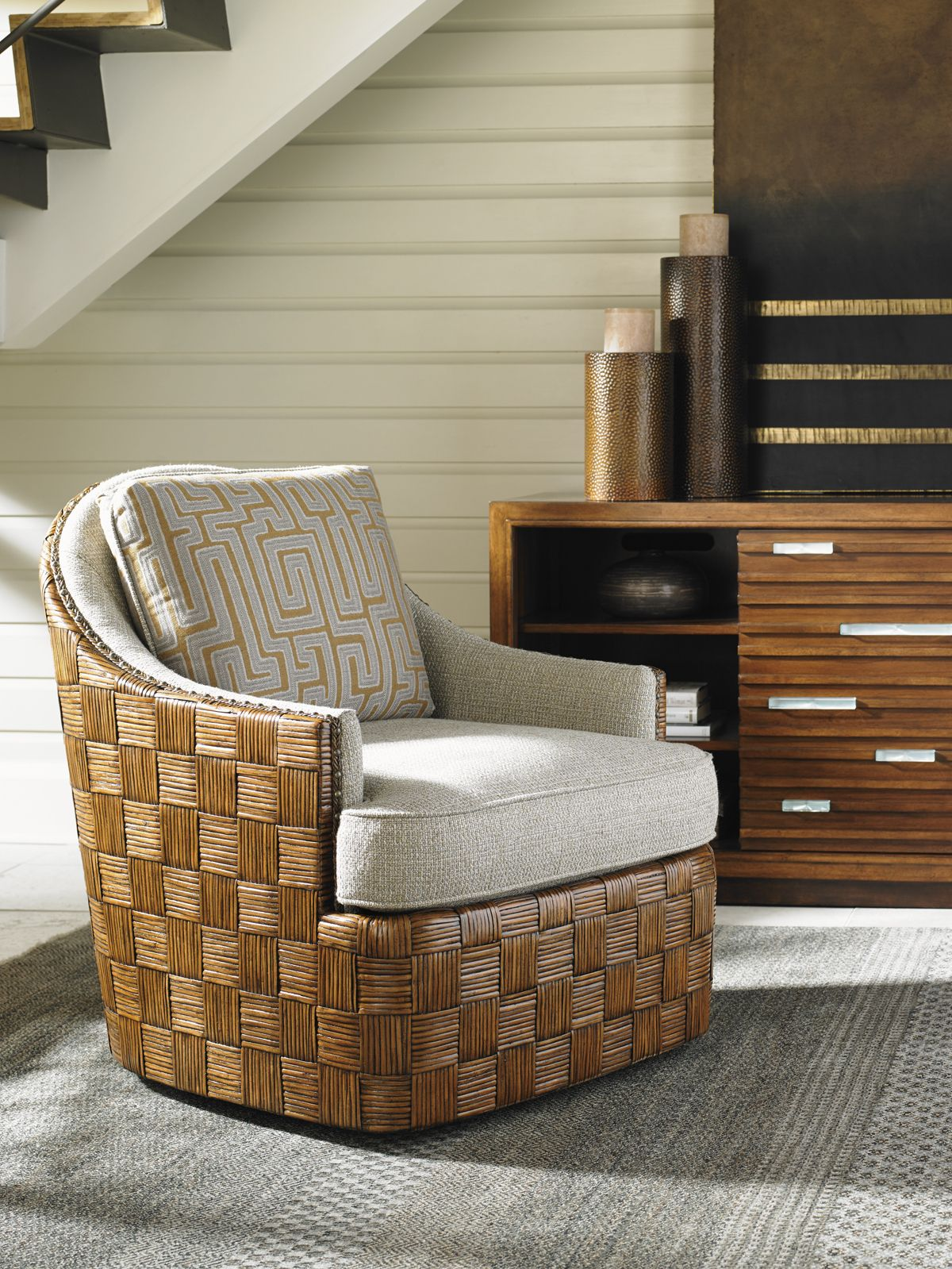 49aa9edeea1 Tommy Bahama Swivel Chair with Woven Rattan Parquet Design