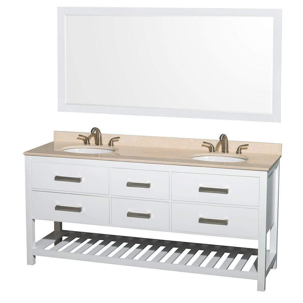 Wyndham Collection Natalie 72 in. Double Vanity in White with Marble Vanity Top in Ivory, Under-Mount Oval Sinks and 70 in. Mirror