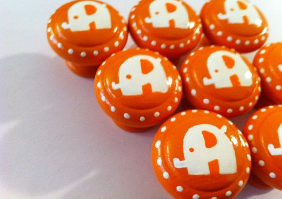 Orange Baby Elephant Drawer Knobs at the Little Nursery   $6 each