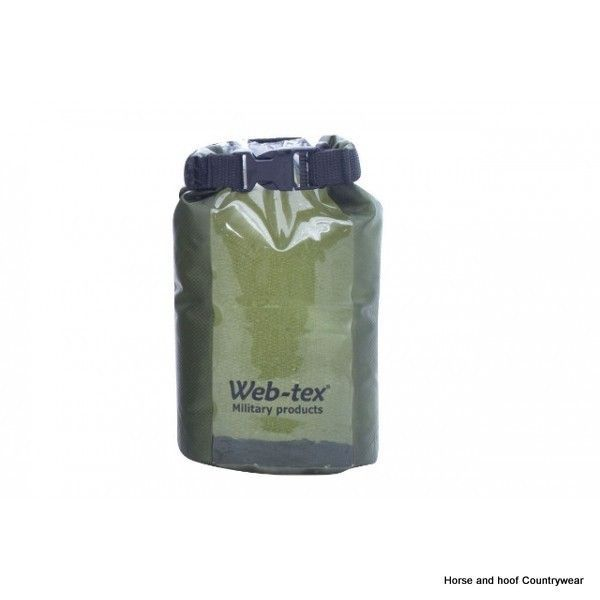 Web-tex Ultra Lightweight Dry Sack - 2 5 Litre - Olive Green 2 5 ltr waterproog PVC Polyester dry sack Features a roll top sealing system with buckle