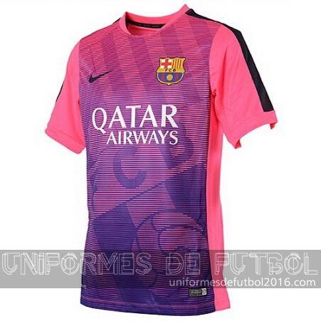 Venta de Pre Match uniforme del rosa Barcelona 2015-16  6d305b580399a