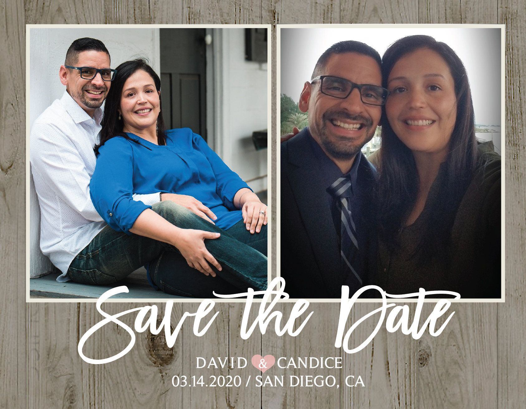 graduation Wedding save the dates thank you 2 two photo 3 three photo magnet card Modern Rustic pink purple navy grey country wood