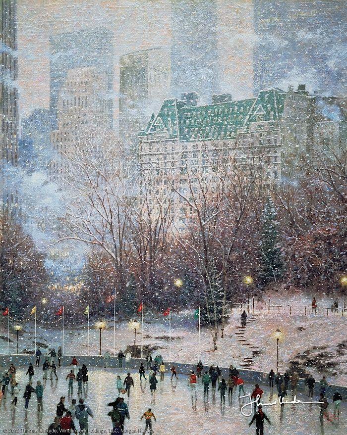 Thomas kinkade skating in the park 1989 love art gem lde weihnachtskarten und winterzeit - Amerikanische weihnachtskarten ...